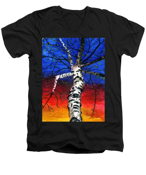 White Birch In Spring Men's V-Neck T-Shirt
