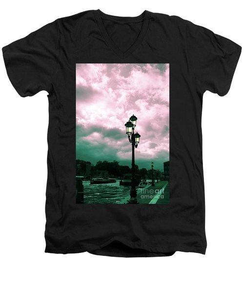 Winter Venice Lantern On The Embankment Men's V-Neck T-Shirt