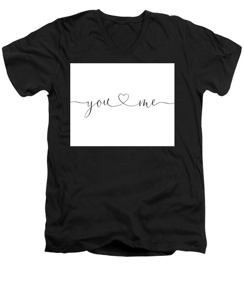 You And Me Black And White Men's V-Neck T-Shirt