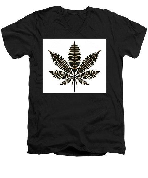 Zebra Pattern Marijuana Leaf 2 Men's V-Neck T-Shirt