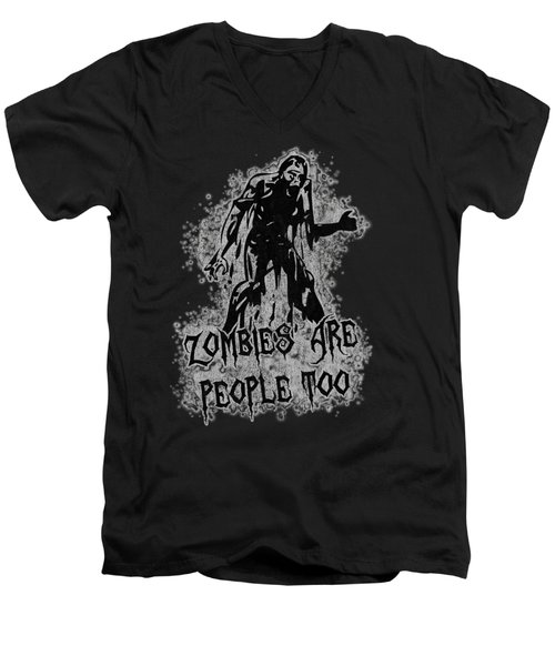 Zombies Are People Too Halloween Vintage Men's V-Neck T-Shirt