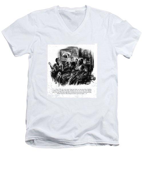 . . . Atter W'ile De Roof Sorter 'gun Ter Leak Men's V-Neck T-Shirt