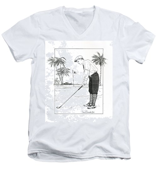 Men's V-Neck T-Shirt featuring the drawing  1920's Vintage Golfer by Ira Shander