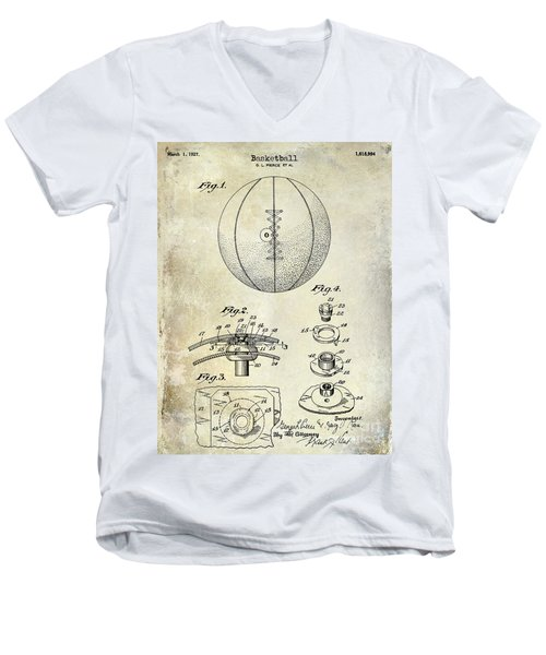 1927 Basketball Patent Drawing Men's V-Neck T-Shirt