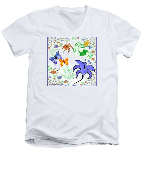556 - Flowers And Butterflies Men's V-Neck T-Shirt by Irmgard Schoendorf Welch