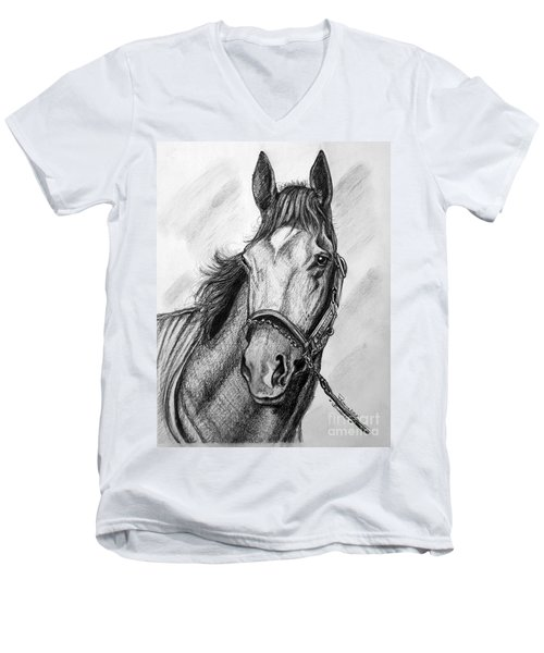 Men's V-Neck T-Shirt featuring the drawing  Barbaro by Patrice Torrillo