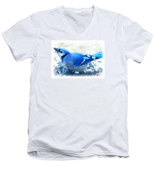 Bright Blue Jay  Men's V-Neck T-Shirt by Peggy Franz