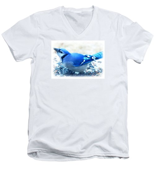 Bright Blue Jay  Men's V-Neck T-Shirt