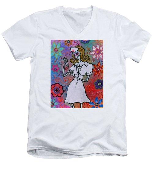 Dia De Los Muertos Nurse Men's V-Neck T-Shirt by Pristine Cartera Turkus