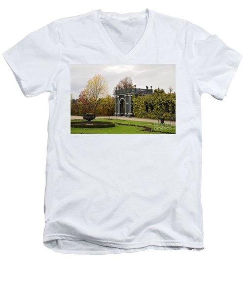 Men's V-Neck T-Shirt featuring the photograph  Garden Gate Schonbrunn Palace Vienna Austria by Imran Ahmed
