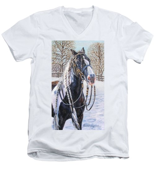 I'm Ready For The Ribbons Gypsy Vanner Horse Men's V-Neck T-Shirt