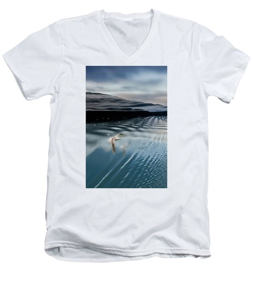 Journey With A Sea Gull Men's V-Neck T-Shirt by Gary Warnimont