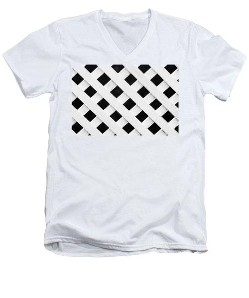 Lattice Fence Pattern Men's V-Neck T-Shirt