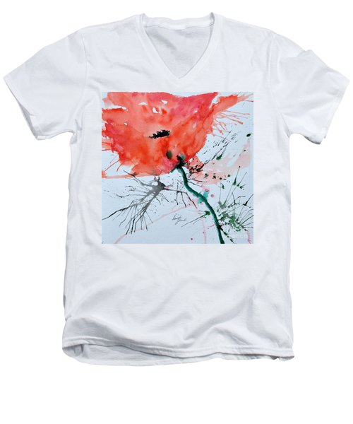Men's V-Neck T-Shirt featuring the painting  Lonely Poppy by Ismeta Gruenwald