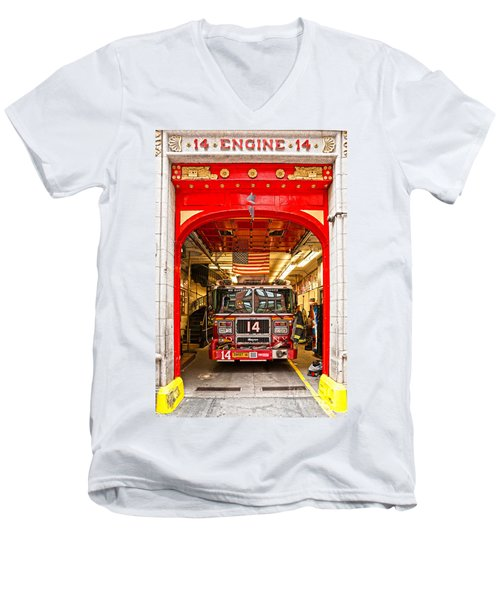 New York Fire Department Engine 14 Men's V-Neck T-Shirt by Luciano Mortula