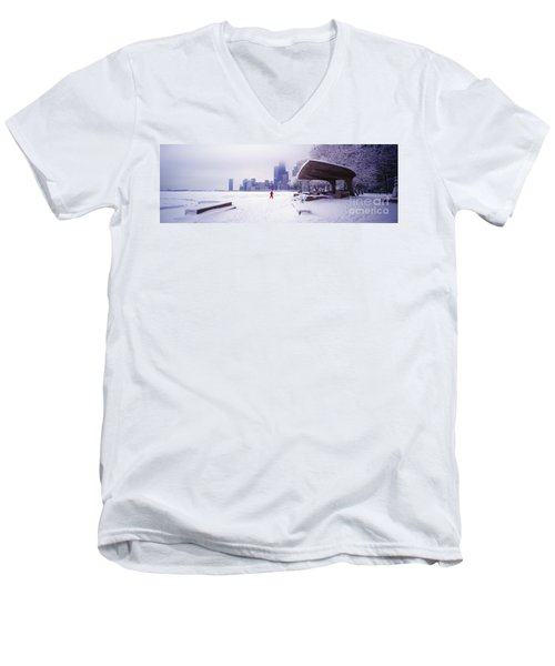 Men's V-Neck T-Shirt featuring the photograph  North Ave Beach Chess Palv Chicago Lake Front  by Tom Jelen