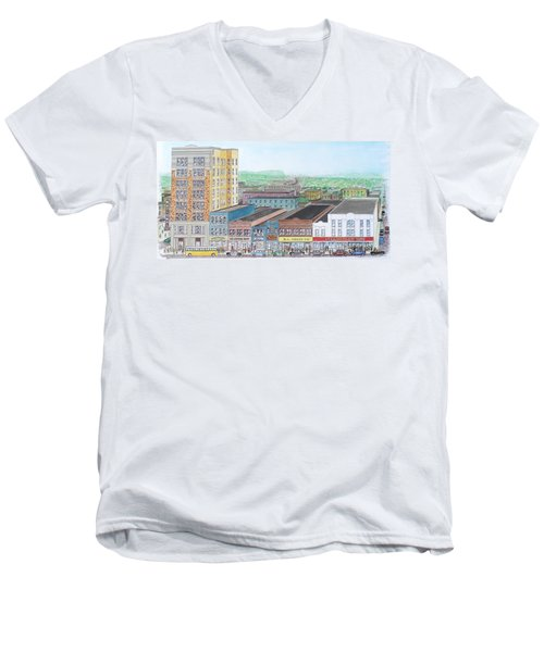 Portsmouth Ohio Dime Store Row 4th To 5th Men's V-Neck T-Shirt by Frank Hunter