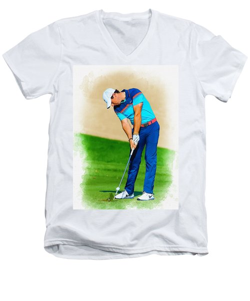 Rory Mcilroy Plays His Second Shot On The Par 4 Men's V-Neck T-Shirt