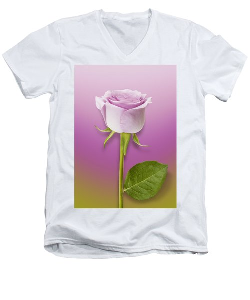 Single Lilac Rose Men's V-Neck T-Shirt