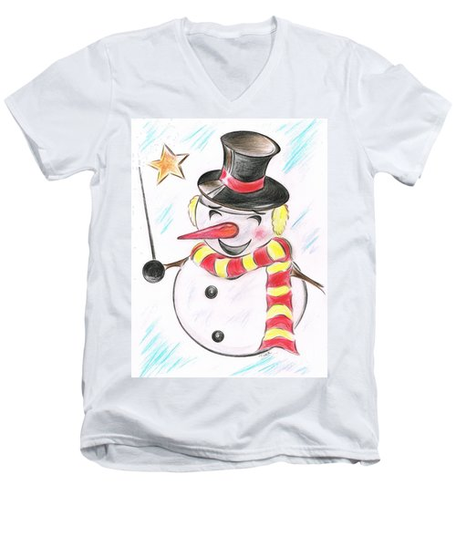 Snowmans  Stardom Men's V-Neck T-Shirt by Teresa White
