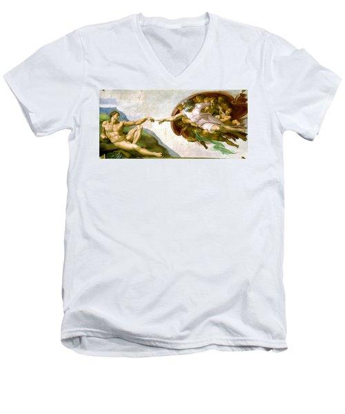 The Creation Of Adam Men's V-Neck T-Shirt by Michelangelo di Lodovico Buonarroti Simoni