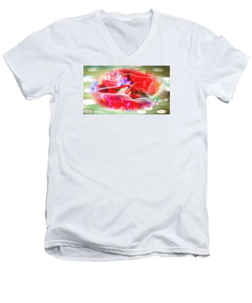 The Flowers Of Fiery Red In Abstract Concept  Men's V-Neck T-Shirt