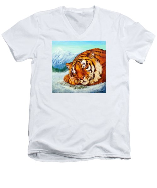 Men's V-Neck T-Shirt featuring the painting  Tiger Sleeping In Snow by Bob and Nadine Johnston