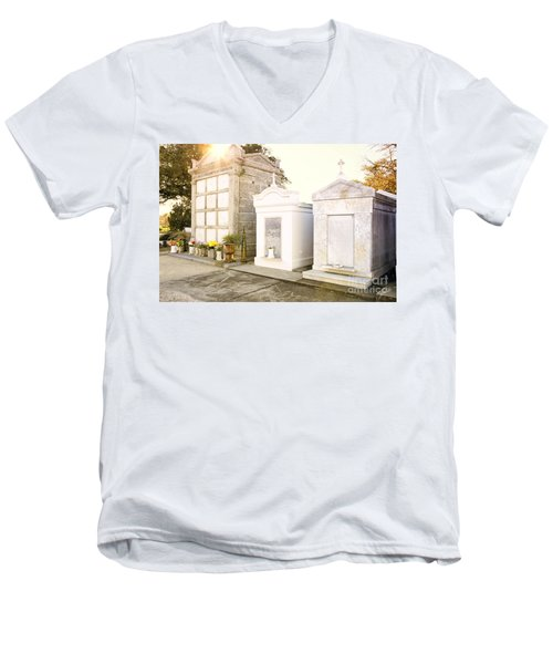 Men's V-Neck T-Shirt featuring the photograph   Tombstones  by Erika Weber