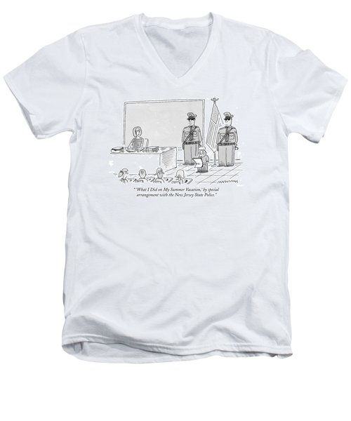 'what I Did On My Summer Vacation Men's V-Neck T-Shirt