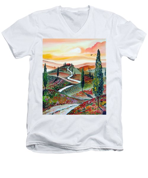 Men's V-Neck T-Shirt featuring the painting  Winding Country Road Among The Hills Of Tuscany by Roberto Gagliardi