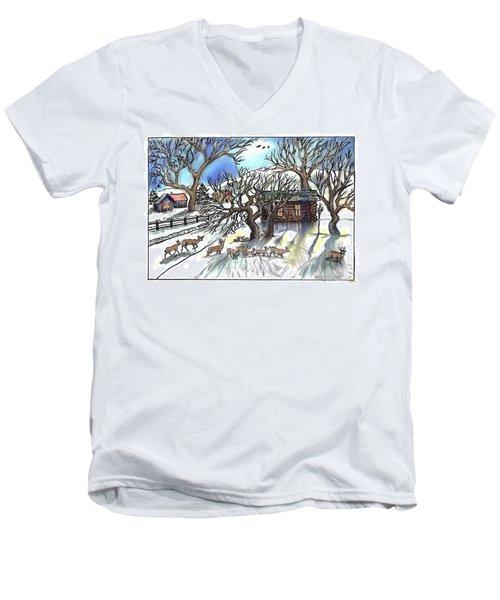 Wyoming Winter Street Scene Men's V-Neck T-Shirt by Dawn Senior-Trask