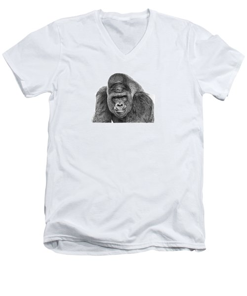 Men's V-Neck T-Shirt featuring the drawing 042 - Gomer The Silverback Gorilla by Abbey Noelle
