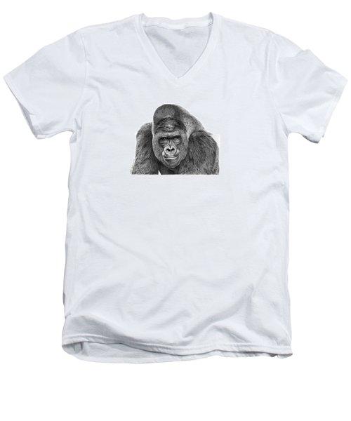 042 - Gomer The Silverback Gorilla Men's V-Neck T-Shirt