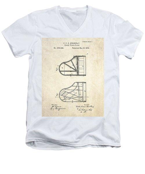 1878 Steinway Grand Piano Forte Patent Art S. 1 Men's V-Neck T-Shirt by Gary Bodnar