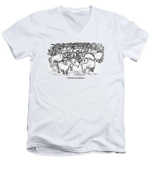 1-800 Herd Of Elephants Men's V-Neck T-Shirt