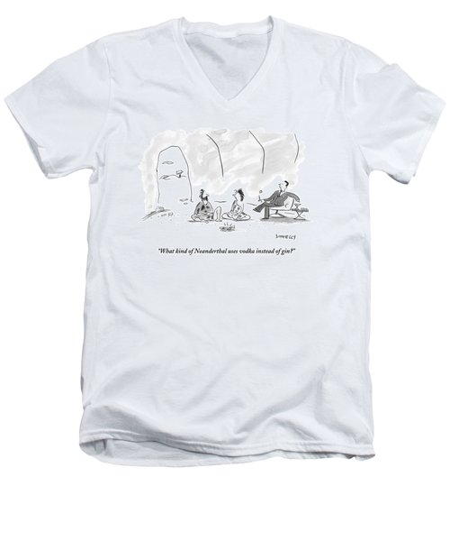 A Caveman And Cavewoman Sit On The Floor Men's V-Neck T-Shirt