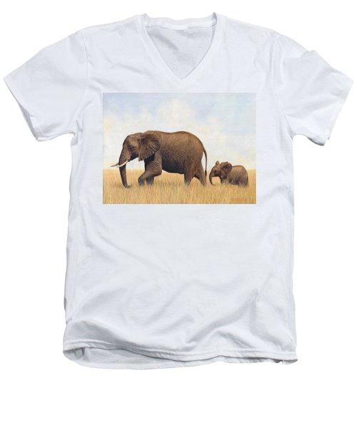 African Elephants Men's V-Neck T-Shirt
