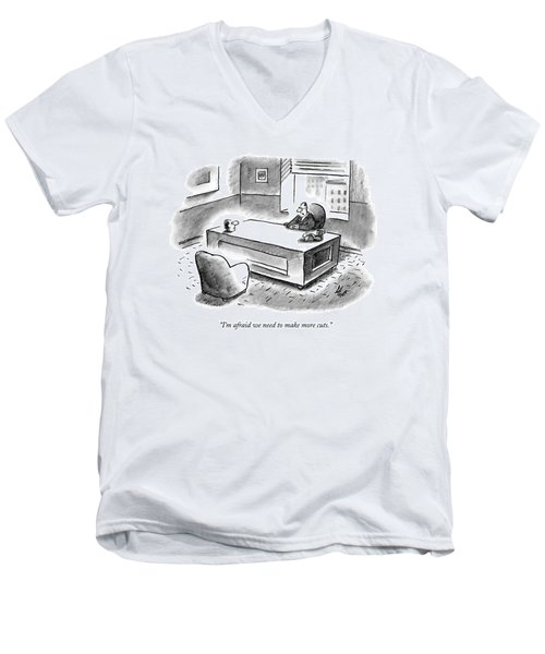An Executive Sits At His Desk And An Employee's Men's V-Neck T-Shirt