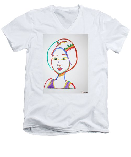 Men's V-Neck T-Shirt featuring the painting Anime Asian Girl by Stormm Bradshaw