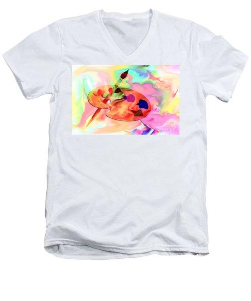 Artist Palette Men's V-Neck T-Shirt by Annie Zeno