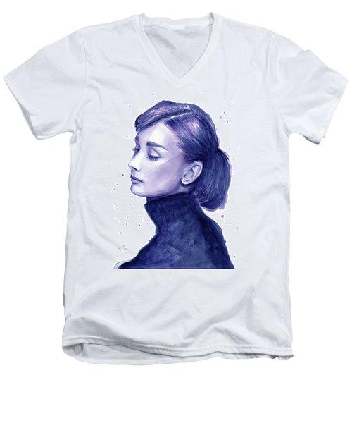 Audrey Hepburn Portrait Men's V-Neck T-Shirt by Olga Shvartsur