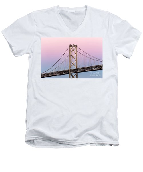 Bay Bridge Lights At Sunset Men's V-Neck T-Shirt