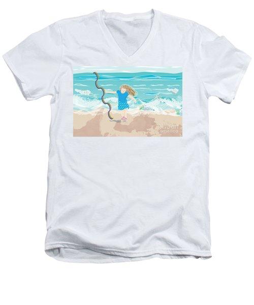 Men's V-Neck T-Shirt featuring the digital art Beach Rainbow Girl by Kim Prowse