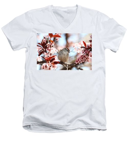 Men's V-Neck T-Shirt featuring the photograph Beautiful Sparrow by Trina  Ansel