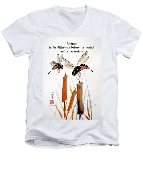 Men's V-Neck T-Shirt featuring the painting Beeing Present by Bill Searle