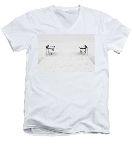 Benches On A Dock Men's V-Neck T-Shirt by Jouko Lehto