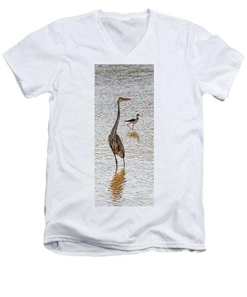 Blue Heron And Stilt Men's V-Neck T-Shirt