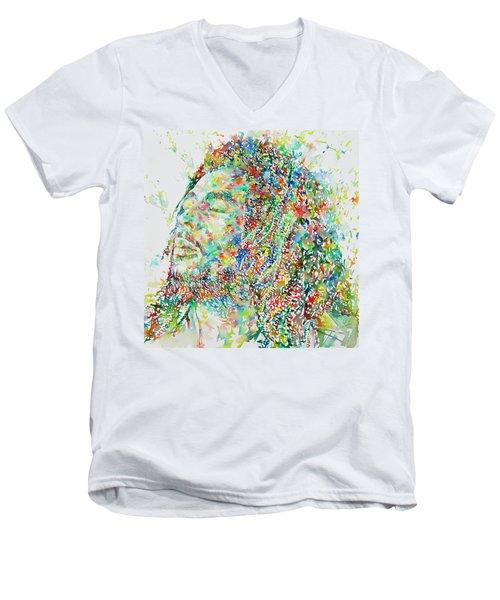 Bob Marley Watercolor Portrait.1 Men's V-Neck T-Shirt