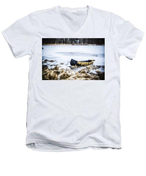 Canoe At The Frozen Lake Men's V-Neck T-Shirt