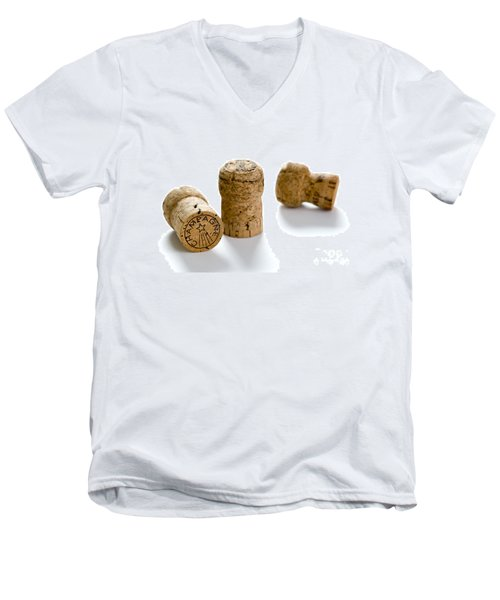 Men's V-Neck T-Shirt featuring the photograph Champagne Corks by Lee Avison
